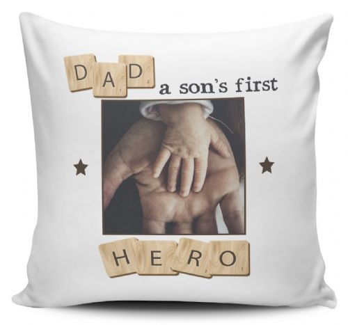Personalised Dad, A Son's First Hero Cushion Cover